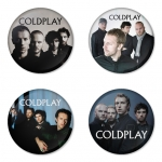 Coldplay button badge 1.75 inch custom backside 4 type Pinback, Magnet, Mirror or Keychain. Get 4 in package [8]
