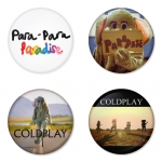 Coldplay button badge 1.75 inch custom backside 4 type Pinback, Magnet, Mirror or Keychain. Get 4 in package [7]
