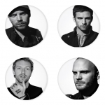 Coldplay button badge 1.75 inch custom backside 4 type Pinback, Magnet, Mirror or Keychain. Get 4 in package [21]
