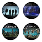 Coldplay button badge 1.75 inch custom backside 4 type Pinback, Magnet, Mirror or Keychain. Get 4 in package [15]