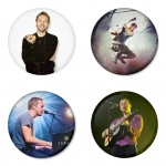 Coldplay button badge 1.75 inch custom backside 4 type Pinback, Magnet, Mirror or Keychain. Get 4 in package [20]