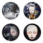 Korn button badge 1.75 inch custom backside 4 type Pinback, Magnet, Mirror or Keychain. Get 4 in package [4]