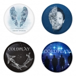 Coldplay button badge 1.75 inch custom backside 4 type Pinback, Magnet, Mirror or Keychain. Get 4 in package [5]