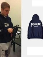 เสื้อฮู้ดแจ็คเก็ตสีน้ำเงินเข้ม Justin Bieber Purpose Tour