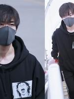 เสื้อฮู้ดแขนยาวสีดำ TFBOYS สกรีนลาย