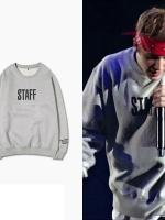 เสื้อแฟชั่นแขนยาวสีเทา Justin Bieber STAFF