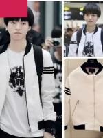 เสื้อแจ็คเก็ตแขนยาวสีขาว TFBOYS แต่งแถบแขนเสื้อ แนวเบสบอล