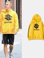 เสื้อฮู้ดแจ็คเก็ตสีเหลือง Justin Bieber พิมพ์ลายหน้าหลัง