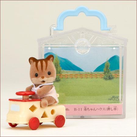 ซิลวาเนียน เบบี้กระรอกกับรถ (JP) Sylvanian Families Carry Case Baby Squirrel & Wooden Car