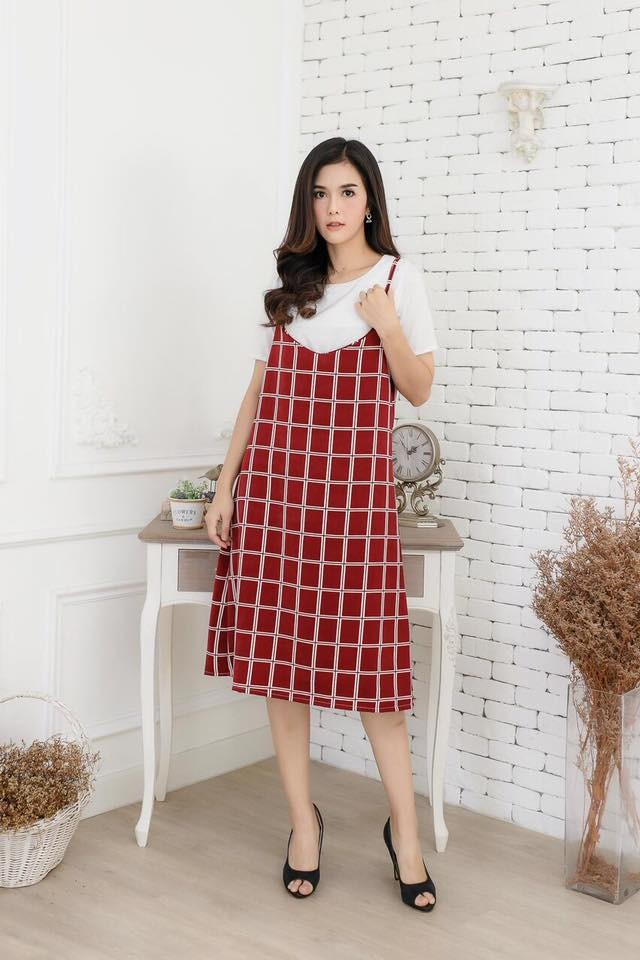 2679เซตเสื้อไหมอิตาลีสีออฟกับเอี้ยมสวยเดี่ยวผ้าฮานาโกะลายตาราง