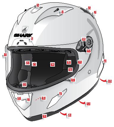 อะไหล่หมวกกันน็อค SHARK Race R Pro
