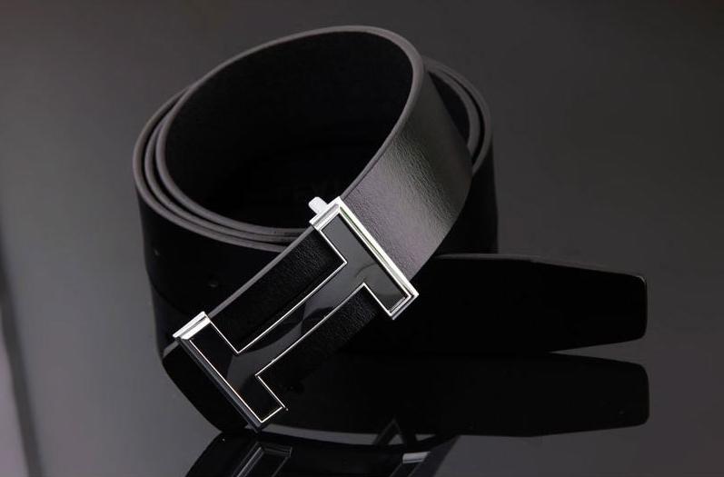 เข็มขัดหนังผู้ชาย H-style สีดำ