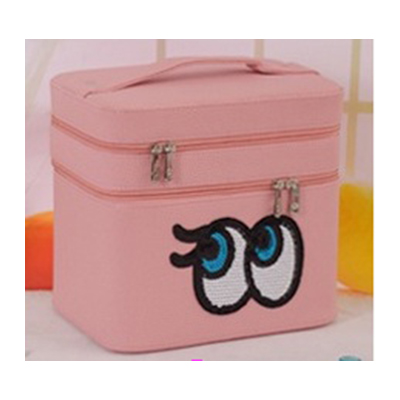 กระเป๋าเครื่องสำอาง big eyes double box สีโอรส