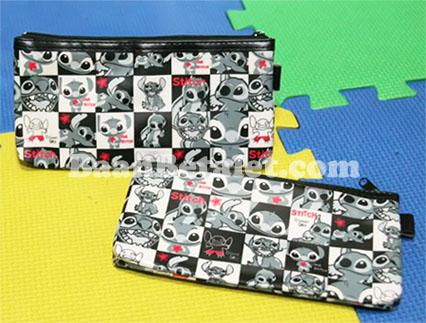 กระเป๋าใส่ของจุกจิกมีซิป 1 ช่อง ลายตารางสติทช์ 20x10x1.5ซม. (Stitch TW-145FC)
