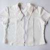 เสื้อคอปกสีขาวแต่งซิบด้านหน้าผ้าชีฟอง