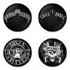 ของที่ระลึกวง Guns N Roses เลือกด้านหลังได้ 4 แบบ เข็มกลัด, แม่เหล็ก, กระจกพกพา หรือ พวงกุญแจที่เปิดขวด 1 แพ็ค 4 ชิ้น [4]