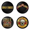 ของที่ระลึกวง Guns N Roses เลือกด้านหลังได้ 4 แบบ เข็มกลัด, แม่เหล็ก, กระจกพกพา หรือ พวงกุญแจที่เปิดขวด 1 แพ็ค 4 ชิ้น [3]