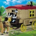 [หมดแล้ว] บ้านรถม้าซิลวาเนียน (UK) Sylvanian Families Caravan and Pony V5%