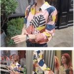 เสื้อเชิ้ตแขนยาวเกาหลี ยูฮเยจอง Doctors สีชมพู แต่งลาย