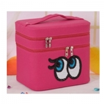 กระเป๋าเครื่องสำอาง big eyes double box สีบานเย็น