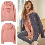 เสื้อแจ็คเก็ตกันหนาวสีชมพู มีฮู้ด Bae Suzy พิมพ์อักษรด้านหน้า