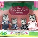 [หมดแล้ว] ครอบครัวซิลวาเนียน..ฟิชเชอร์แมวลาย 4 ตัว (US) Sylvanian Families Fisher Cat Family V5%