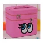 กระเป๋าเครื่องสำอาง big eyes double box สีชมพู