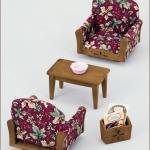 ซิลวาเนียน เก้าอี้รับแขกลายดอกไม้ (JP) Sylvanian Families Armchair Set