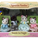 ครอบครัวซิลวาเนียนแมว 4 ตัว Sylvanian Tuxedo Cat Family