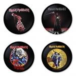 ของที่ระลึกวง Iron Maiden เลือกด้านหลังได้ 4 แบบ เข็มกลัด, แม่เหล็ก, กระจกพกพา หรือ พวงกุญแจที่เปิดขวด 1 แพ็ค 4 ชิ้น [19]