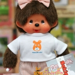 ตุ๊กตาลิงมอนจิจิ-โบว์ลาย (Dressed Monchhichi 20cm Orange Stripe Girl)
