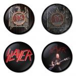 ของที่ระลึกวง Slayer เลือกด้านหลังได้ 4 แบบ เข็มกลัด, แม่เหล็ก, กระจกพกพา หรือ พวงกุญแจที่เปิดขวด 1 แพ็ค 4 ชิ้น [2]