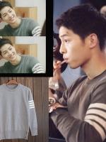 เสื้อแจ็คเก็ตแขนยาวเกาหลี ซง จุง-กิ Descendants Of The Sun แต่งแถบเส้น ดีไซน์ขอบ มี2สี